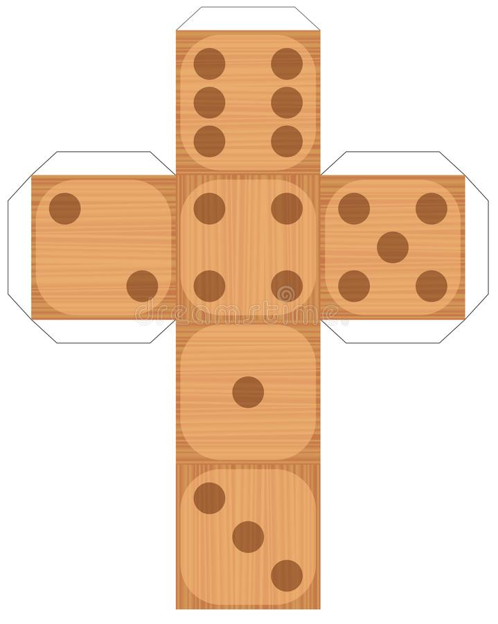 Dice Template Wooden Texture Six Sided Stock Vector - Illustration ...