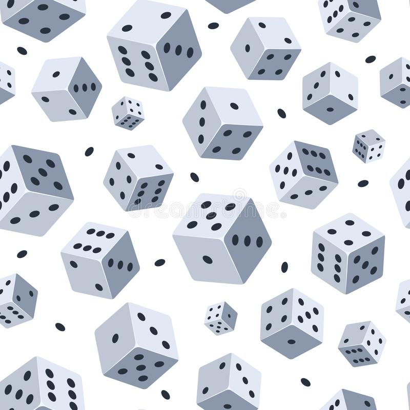Dice vector pattern. Seamless background with picture of dice. Illustrations for game club or casino stock illustration