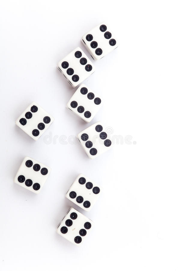 Dice on the white background. Dice isolation royalty free stock images