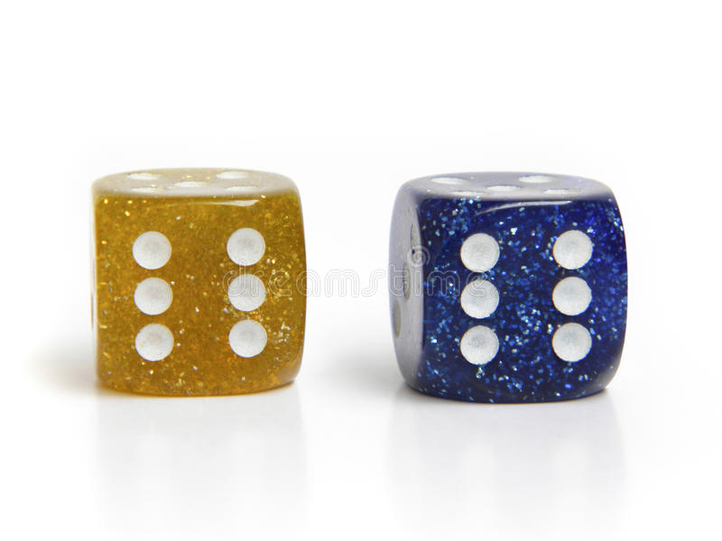 Dice on white background stock images