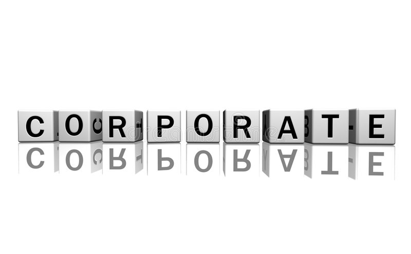 Dice white corporate. Dice isolated on a white reflecting floor making the word corporate vector illustration