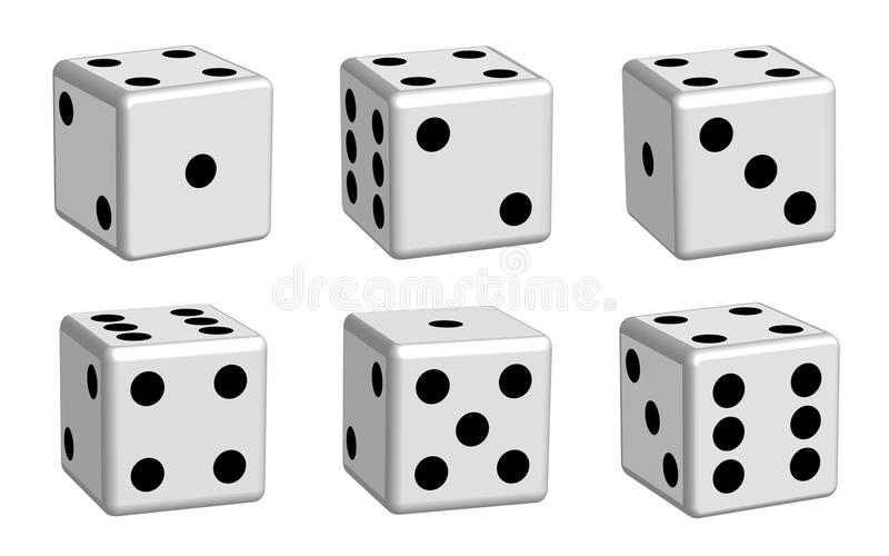 Dice white set in 3D view stock illustration