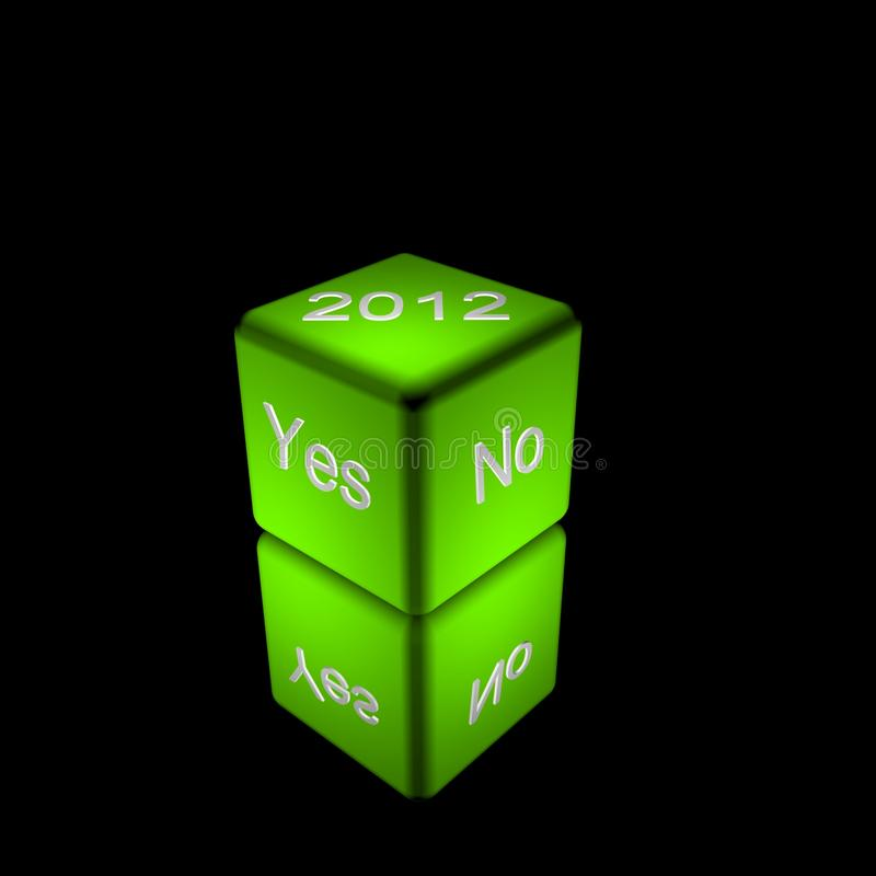 Dice with words Yes, No and 2012 royalty free stock photo