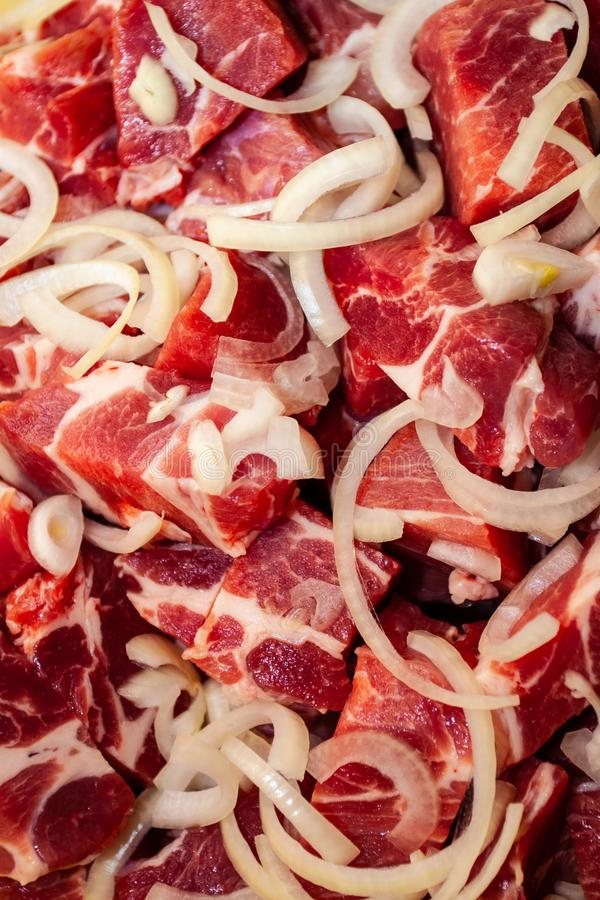 Diced or cubed raw beef steak royalty free stock photography