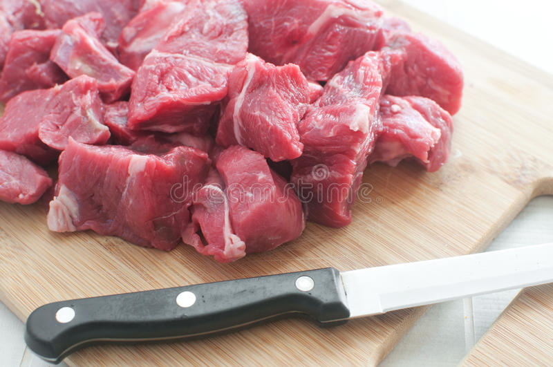 Diced meat on the cutting board