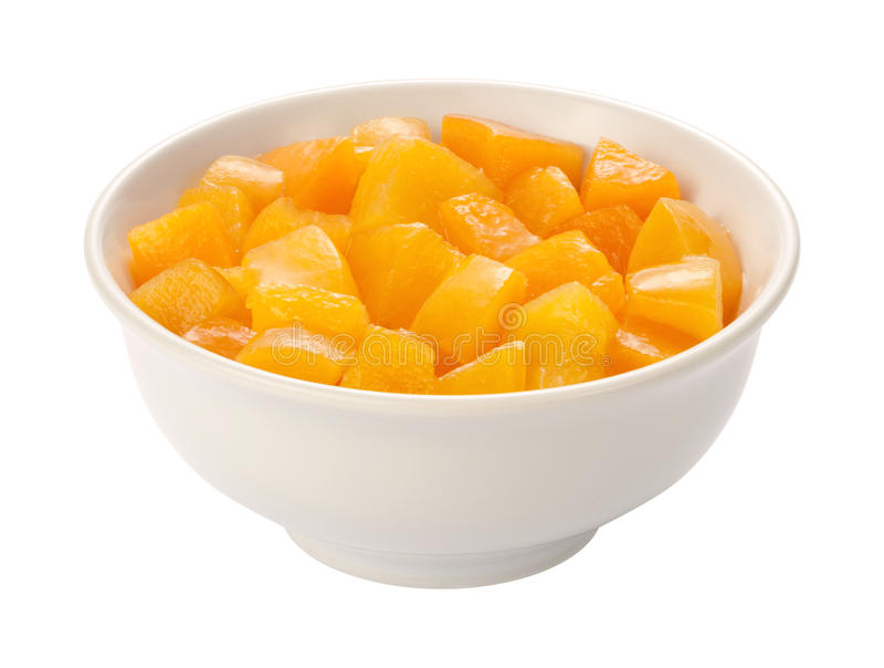 Diced Peaches isolated. Diced Peaches in a white bowl, isolated on white with a clipping path. The isolation is on a transparent background in the PNG format royalty free stock photography