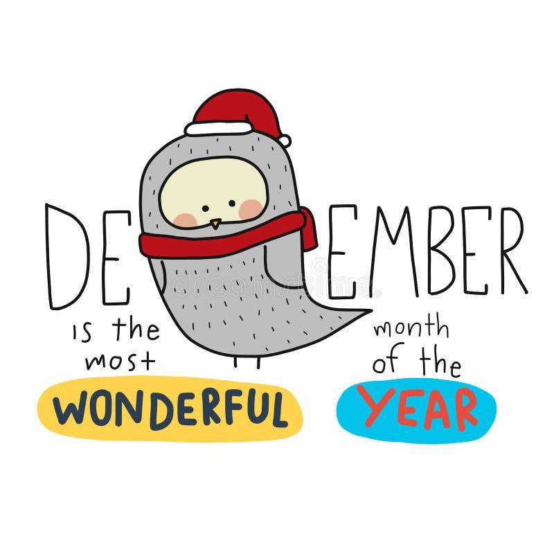 Dicembre è il mese più meraviglioso dell'illustrazione di vettore del fumetto di parola di anno e del gufo di Santa illustrazione vettoriale