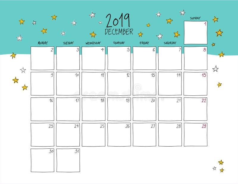 Dicembre 2019 calendario murale Doodle lo stile illustrazione vettoriale