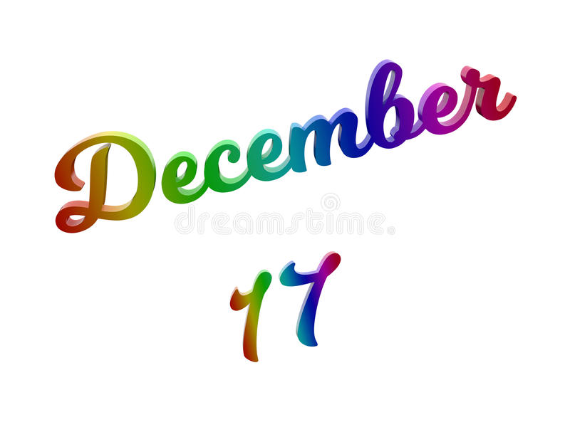 17 dicembre data del calendario di mese, 3D calligrafico ha reso l'illustrazione del testo colorata con la pendenza dell'arcobale royalty illustrazione gratis