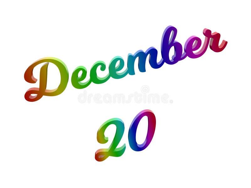 20 dicembre data del calendario di mese, 3D calligrafico ha reso l'illustrazione del testo colorata con la pendenza dell'arcobale illustrazione di stock