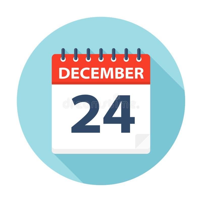 24 dicembre - icona del calendario illustrazione vettoriale