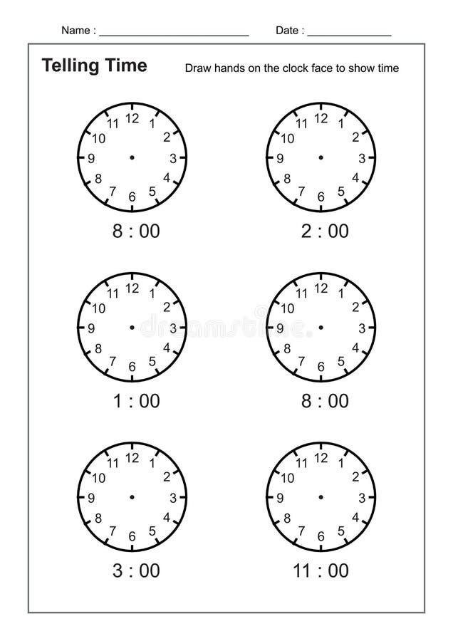 Dicendo il tempo che dice la pratica di tempo per i bambini cronometri i fogli di lavoro affinchè imparare dicano i fogli di lavo royalty illustrazione gratis