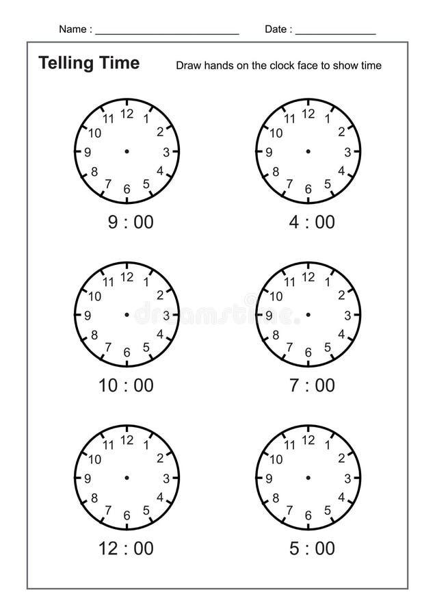 Dicendo il tempo che dice la pratica di tempo per i bambini cronometri i fogli di lavoro affinchè imparare dicano i fogli di lavo illustrazione di stock