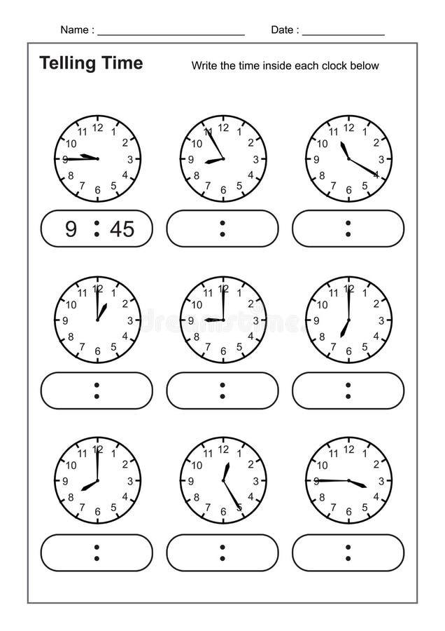 Dicendo il tempo che dice la pratica di tempo per i bambini cronometri i fogli di lavoro affinchè imparare dicano i fogli di lavo illustrazione vettoriale