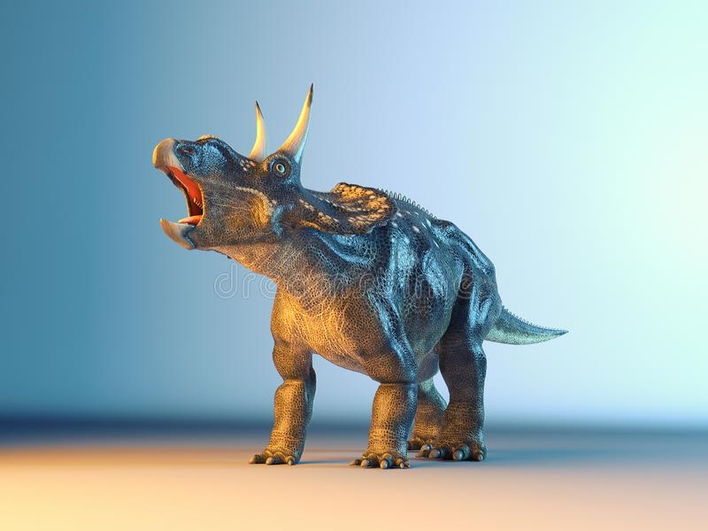 Diceratops在演播室 图库摄影