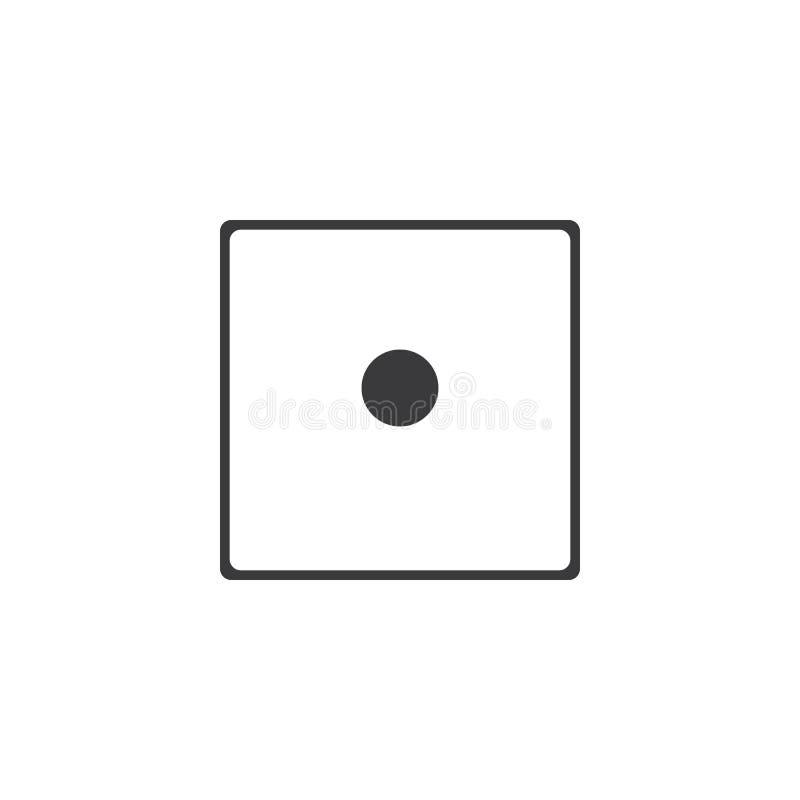 Dices значок знака Символ игры казино Плоский значок кости Круглая кнопка с плоским вектором значка игры иллюстрация штока
