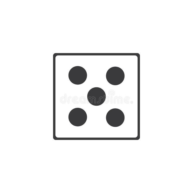 Dices значок знака Символ игры казино Плоский значок кости Круглая кнопка с плоским вектором значка игры иллюстрация вектора