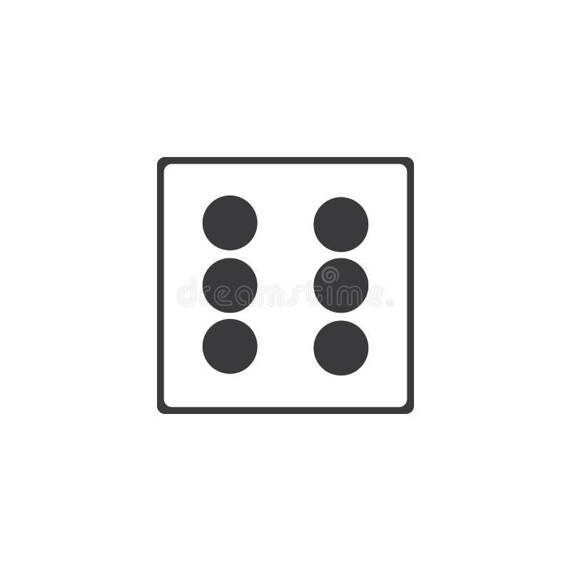 Dices значок знака Символ игры казино Плоский значок кости Круглая кнопка с плоским вектором значка игры бесплатная иллюстрация