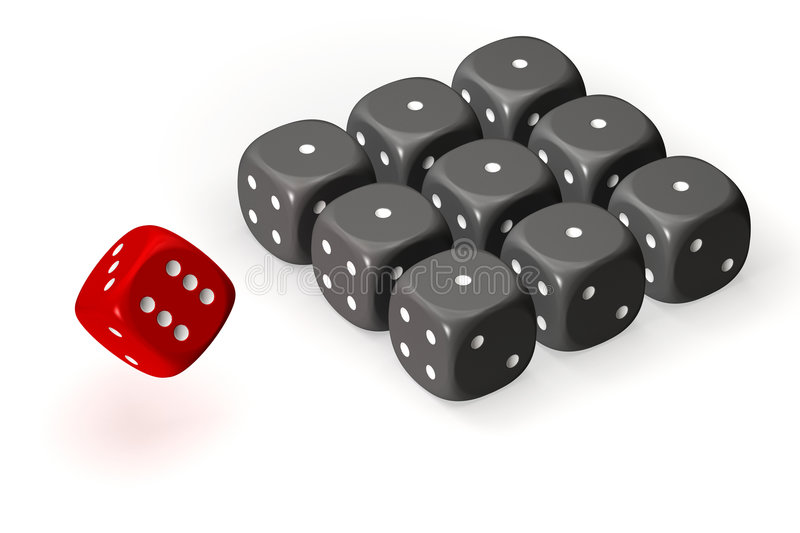 Dices. One red dice and many grey dices aligned on a grid and isolated over a white background. This is a 3D rendered picture royalty free illustration