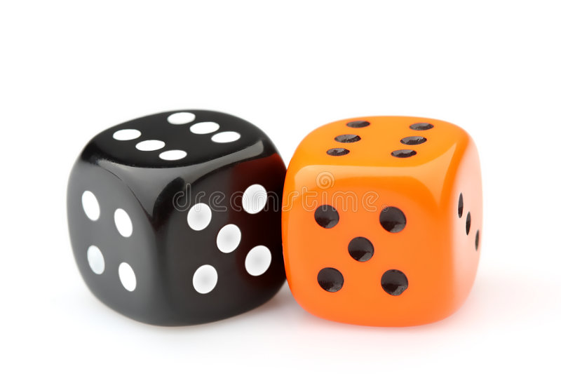 Dices. Two dices isolated on white royalty free stock images