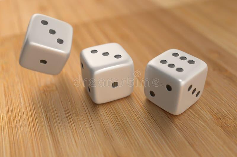 Three dice on wood floor royalty free stock image