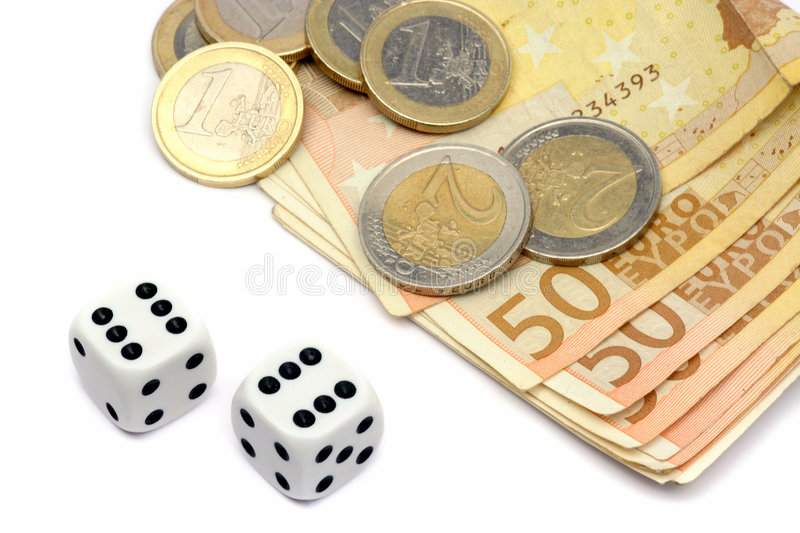 Dices and euro money. Dices, coins and euro money on white royalty free stock photography