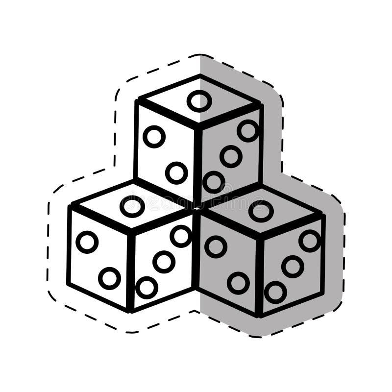 Dices game casino symbol thin line. Illustration eps 10 stock illustration