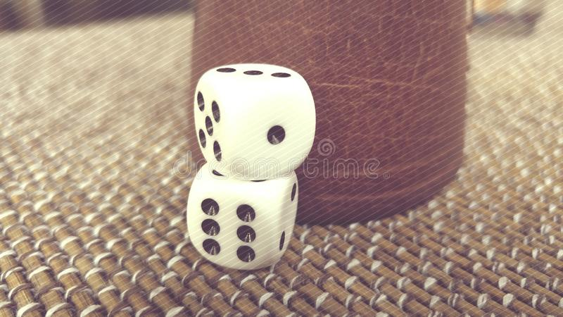Dices. Hight quality picture with retro style filter of 2 simple dices stock photo