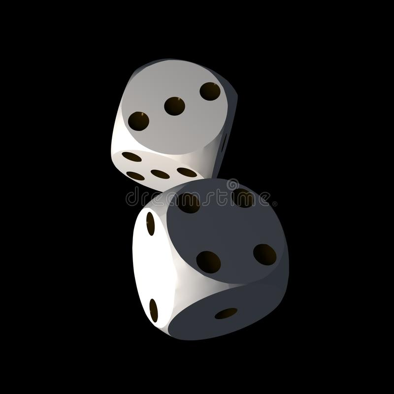 Download Dices - isolated on black stock illustration. Illustration of multicolor - 7933773