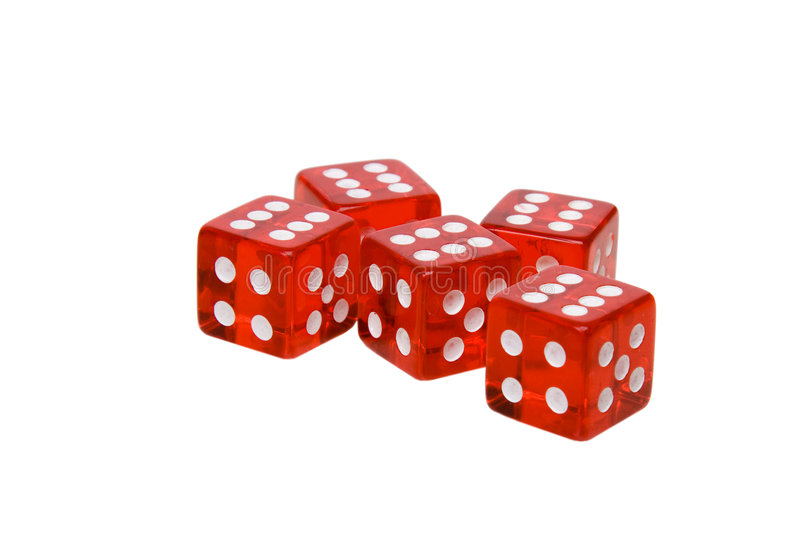 Dices isolated on white. Red dices isolated on white stock photography