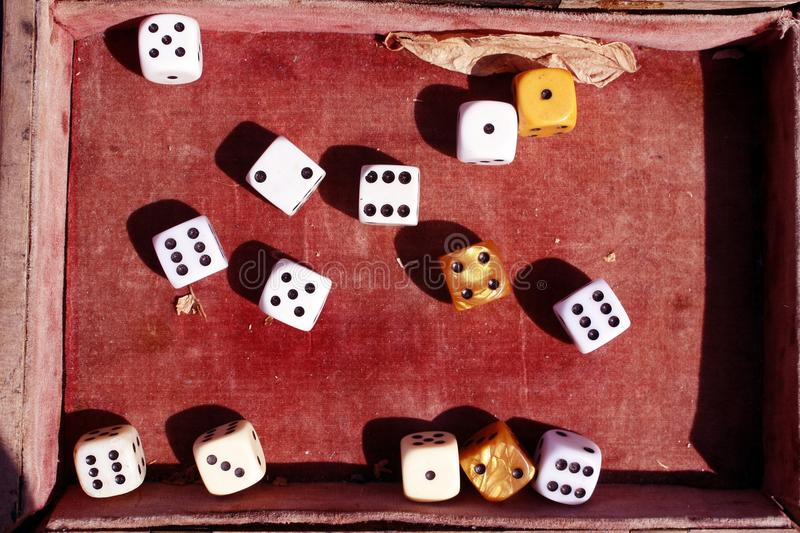 Dices in an old red velvet box. Lucky number and golden dice. Game of chances. stock image