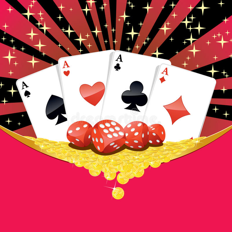 Dices, playing cards and falling golden coins gambling background. Abstract gambling background with dices, four aces playing cards and heap of golden coins stock illustration