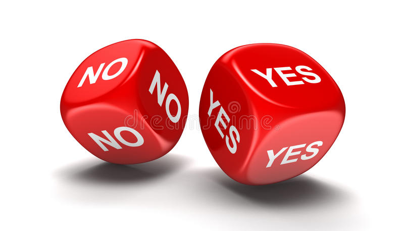Dices with yes, no royalty free illustration