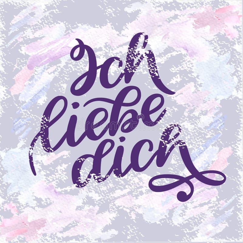 Dich liebe Ich Объявление влюбленности в немце Романтичная рукописная фраза о влюбленности Литерность нарисованная рукой к иллюстрация штока