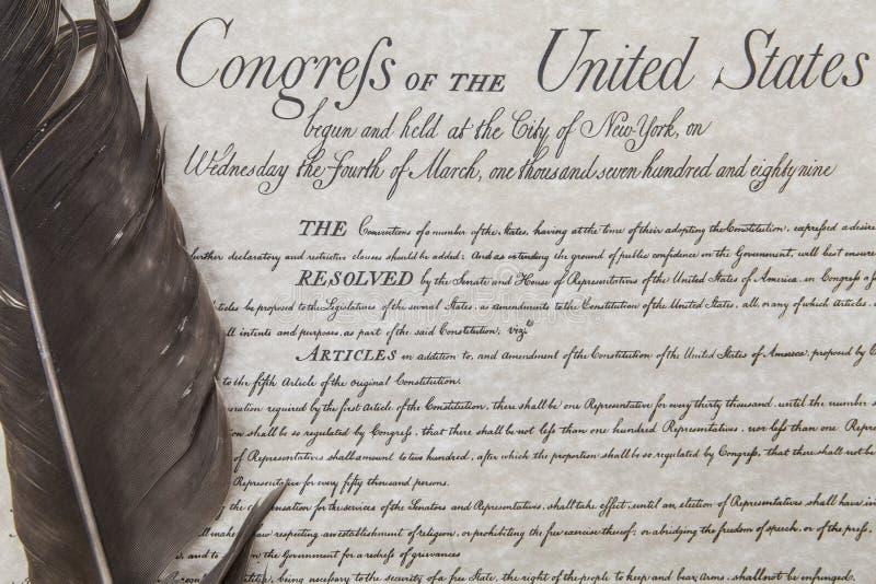 Dichiarazione di Diritti con la penna della piuma fotografia stock libera da diritti
