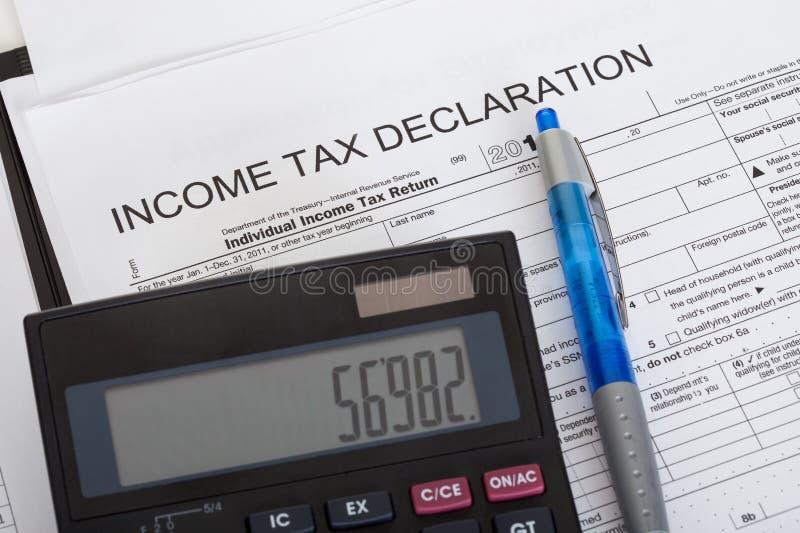 Dichiarazione di imposta sul reddito immagine stock