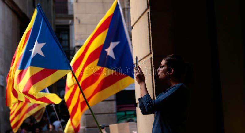 Dichiarazione di indipendenza della Catalogna a Barcellona fotografia stock