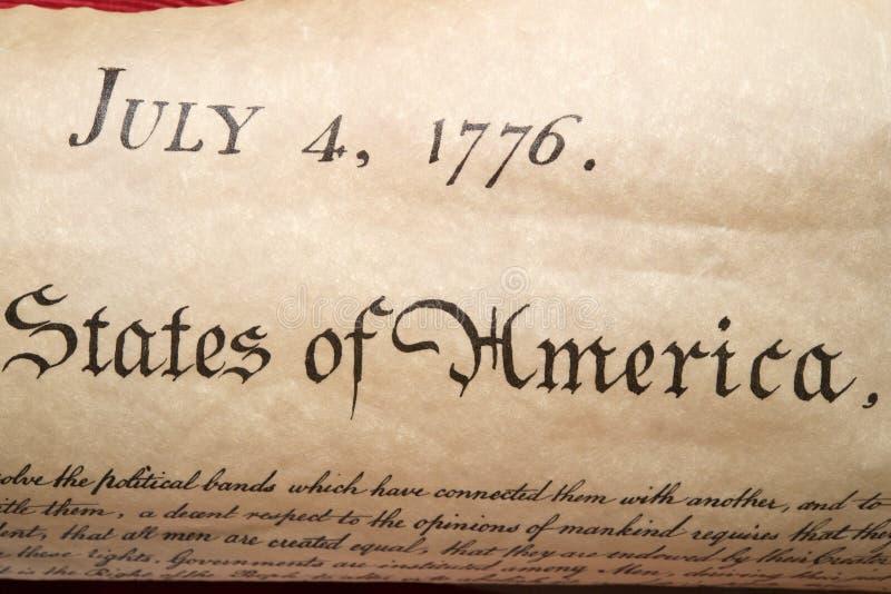 Dichiarazione di indipendenza fine del 4 luglio 1776 su fotografie stock libere da diritti