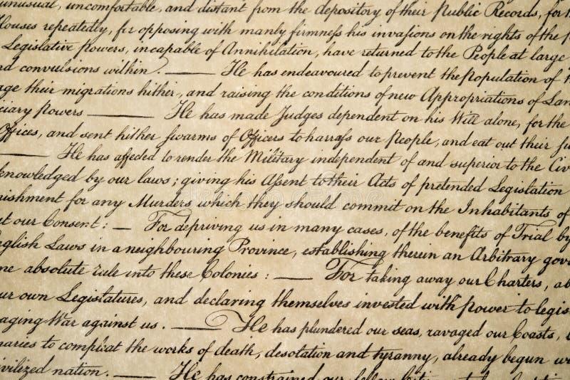 Dichiarazione di indipendenza fine del 4 luglio 1776 su immagine stock