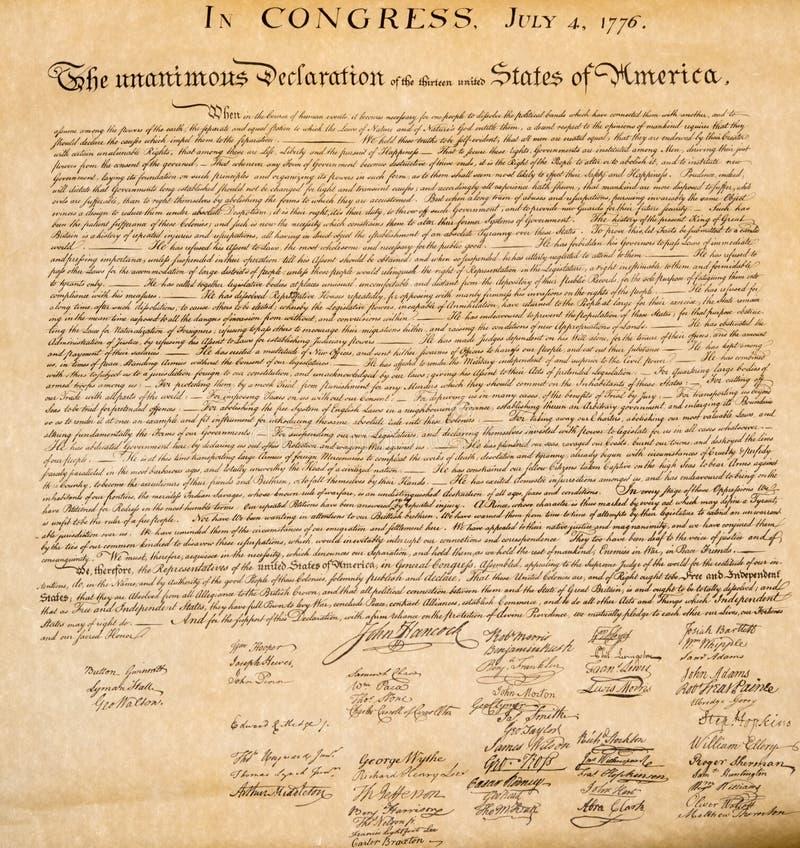Dichiarazione di indipendenza fine del 4 luglio 1776 su fotografia stock libera da diritti