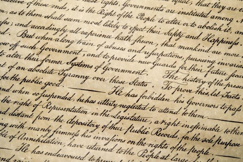 Dichiarazione di indipendenza fine del 4 luglio 1776 su fotografia stock