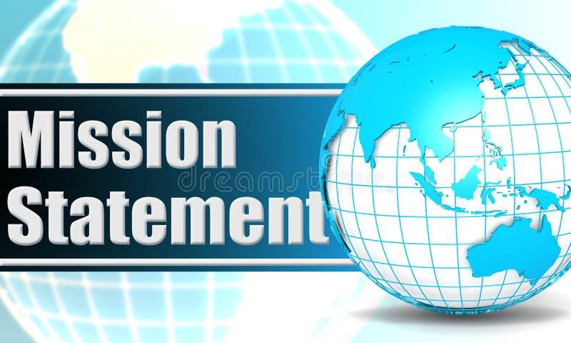 Dichiarazione di missione con il globo della sfera royalty illustrazione gratis