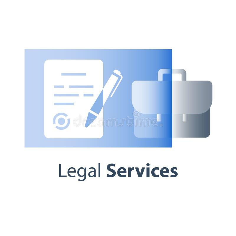 Dichiarazione scritta solenne, clausola contrattuale legale e circostanze, documento giudiziario, lettera dell'avvocato, registra illustrazione vettoriale