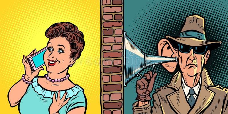 Dichiari intercettare le conversazioni, spia ascolta la conversazione sul telefono illustrazione vettoriale
