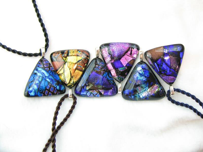 Dichroic Glass Pendants stock image