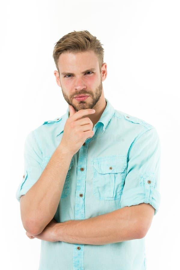 Dicht bij oplossing Mens die met varkenshaar ernstig gezicht witte achtergrond denken Kerel nadenkende aanrakingen zijn kin Naden royalty-vrije stock afbeeldingen