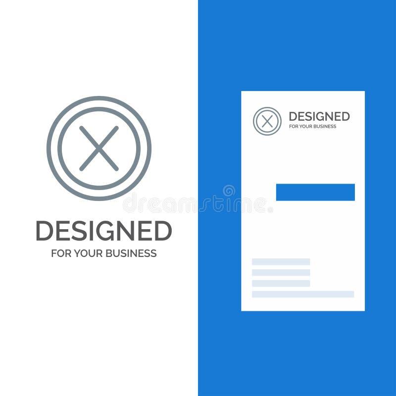 Dicht, Dwars, Interface, Nr, Gebruiker Grey Logo Design en Visitekaartjemalplaatje stock illustratie