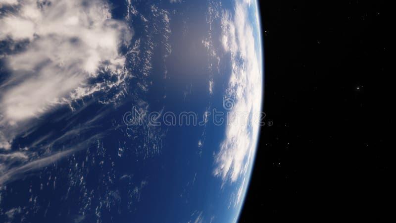 Dichtbij Ruimte, aarde, blauwe planeet Dit die beeldelementen door NASA worden geleverd stock illustratie