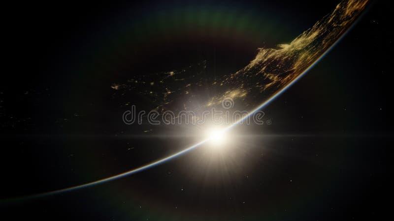 Dichtbij, satelliet met lage omloopbaan blauwe planeet Dit die beeldelementen door NASA worden geleverd royalty-vrije stock afbeeldingen