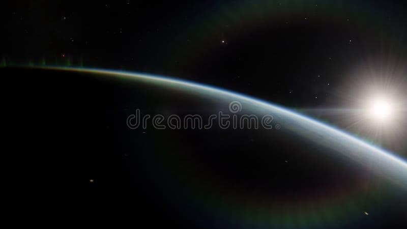 Dichtbij, satelliet met lage omloopbaan blauwe planeet Dit die beeldelementen door NASA worden geleverd stock afbeelding